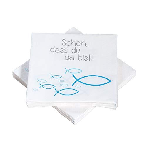 20 Servietten Fische Ichthys 'Schön, DASS du da bist!' 33x33 cm - blau türkis - für Kommunion, Taufe oder andere Festliche Anlässe