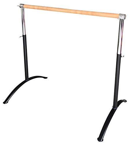 Ballet Barre Portable for Home or Studio, Freestanding Adjustable Bar for Stretch, Balance, Pilates, Dance or Active Workouts, Single or Double Bar, Kids and Adults (Curved Single Bar 5ft)
