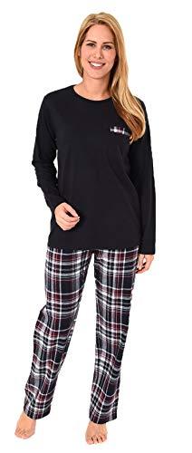 NORMANN wasproductie dames flanel pyjama Mix & Match - Top Single Jersey, broek flanel ook in grote maten - 281 201 90 246