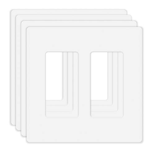 4 Pack Screwless Decorator Wall Plate for Electric Outlets, GFCI, Dimmers, Switches, 2-Gang Unbreakable Child Safe Cover Plate, White