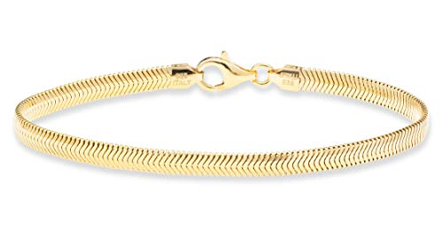MiaBella 18K Gold over Sterling Silver Italian Solid 4mm Flat Snake Dome Herringbone Chain Link Bracelet for Women Men 6.5, 7, 7.5, 8, 8.5 Inch, 925 Italy (7.0 Inches (6'-6.25' wrist size))
