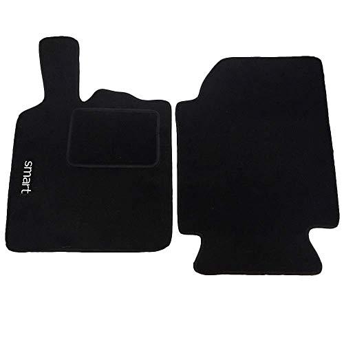 Lupex Shop 1 Auto-Fußmatten aus Teppichstoff mit Klettverschluss kompatibel für Smart 1a Serie W450 (1998 bis 2007), Schwarz