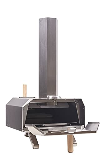 """Char Outdoors The No. 1 Pizza Oven for 12"""" Pizzas, Handmade in UK, Stainless Steel, Portable Design, Wood Fired Pizza Oven with Thermometer, Peel, 1.5kg Pellets and 50 Firelighters – 2 Year Guarantee"""