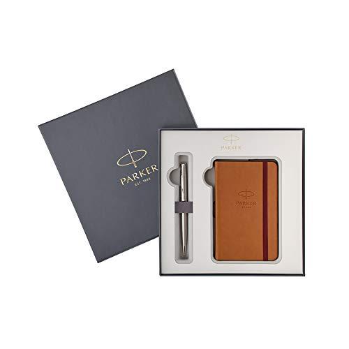 Parker 2018973 Sonnet Stainless Steel Füllfederhalter im Set mit einem Notizbuch