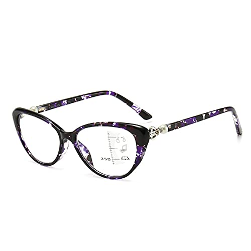 LGQ Gafas de Lectura de Moda con Forma de Ojo de Gato, Lente de Resina HD multifocal progresiva/Anti-luz Azul/anti-UV400, Montura de PC con dioptría de +1,00 a +3,00,Púrpura,+2.50