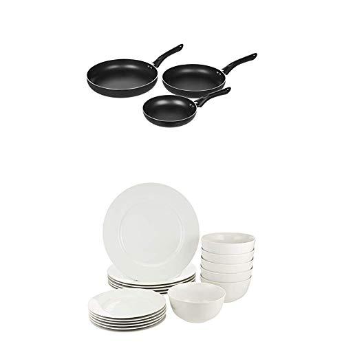 Amazon Basics Geschirrservice, 18-teilig, für 6 Personen & 3-teiliges Bratpfannen-Set mit Antihaftbeschichtung, Größen: 20 cm, 25 cm und 30 cm