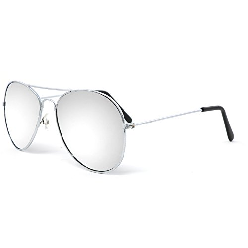 Silver Mirrored Aviator Sunglasses Shades – 70's Style Adult Aviators Costume Glasses - 1 Pair