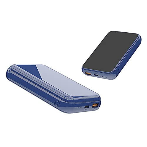 15W Fast Charge Wireless, 10000MAH Wireless Power Bank Laddning Powerbank Externt batteri, Bärbart laddare Hjälpbatteri,Blue