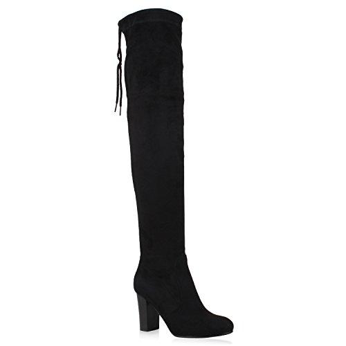 Damen Stiefel Overknees Wildleder-Optik Blockabsatz Langschaftstiefel Boots Schleifen Schuhe 106265 Schwarz 37 Flandell