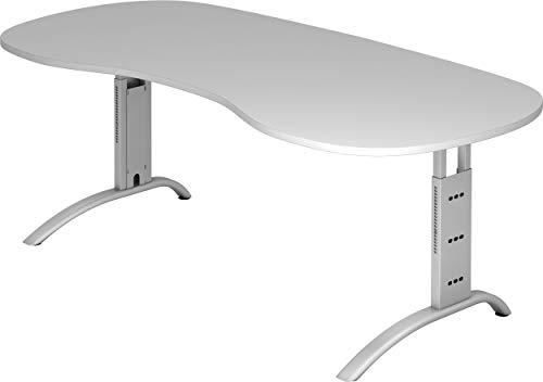 Preisvergleich Produktbild bümö® Schreibtisch höhenverstellbar / Büroschreibtisch Profiqualität / Bürotisch in 6 Dekoren & 9 Längen verfügbar (Grau,  Nierenform: 200x100 cm)