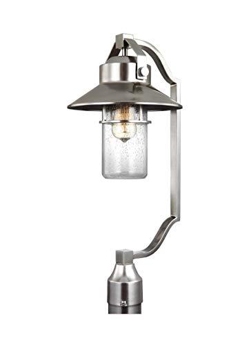 "Feiss OL13908PBS Boynton Industrial Coastal Outdoor Post Lantern Lighting, 1-Light 75 Watt (11""W x 25""H), Painted Brushed Steel"