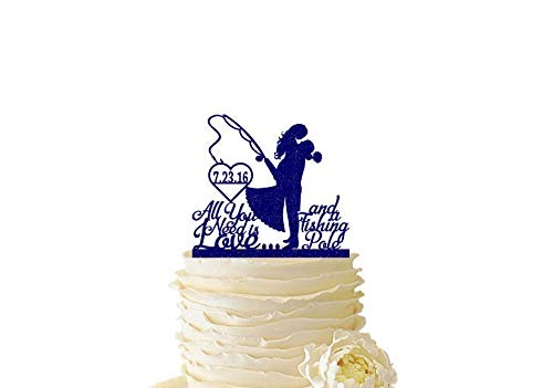 Glitter Bride and Groom and Fishing Pole - Wedding - Anniversary - All You Need Is Love And A Fishing Pole
