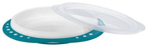 NUK Easy Learning Esslern-Teller mit Deckel, Anti-Rutsch-Griffe, rutschfester Boden, BPA-frei, petrol