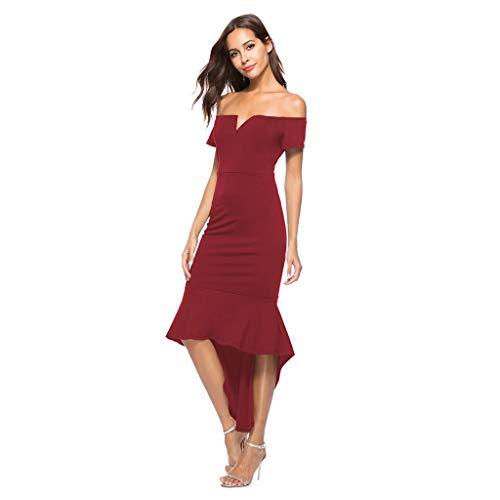 Janly Vestido de novia para mujer, vestido de noche con hombros descubiertos, cuello en V, dobladillo irregular, vestido de San Valentín, Vino, S