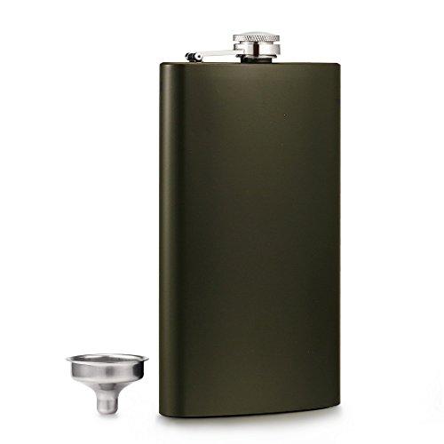 Gennissy - Fiaschetta classica per liquori, in acciaio inossidabile con imbuto, Acciaio inossidabile, 12 oz green
