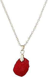Aga Irregular Shaped Handmade Resin Pendant Sterling Silver Necklace for Women - Red
