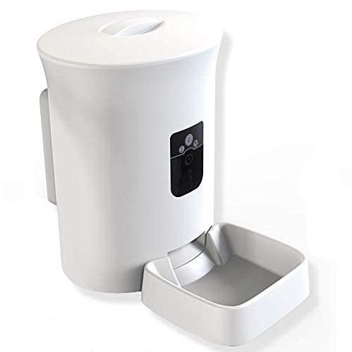 MOXNICE Distributore Automatico di Cibo per Cani Gatti, 8L Alimentatore Automatico con Separatore, Porzione di Controllo Registrazione Vocale Timer Funzione(Versione Camera)