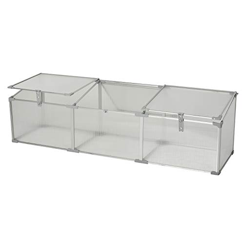 Outsunny 71' Aluminum Vented Cold Frame Mini Greenhouse Kit - Silver/Transparent