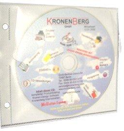 Kronenberg24 CD DVD Archivhüllen Ringbuch CD Hüllen für bis zu zwei Disks, 50er Pack weiß