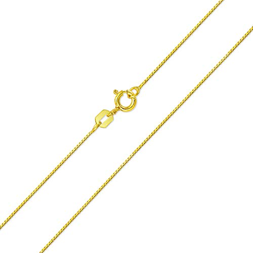 Basic Thin 019 Gauge Box Chain Necklace For Women 14K Gold Plated 925 Sterling Silver 18 Inches Made In Italy