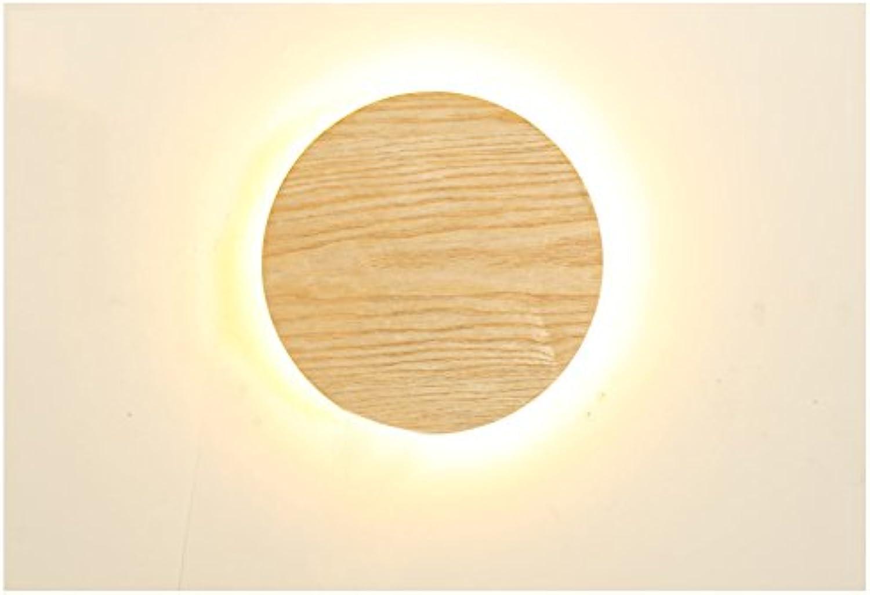 ZHDC Kreative Massivholz Wandleuchte Einfache Wohnzimmer Gangschmuck Leuchten Led Persnlichkeit Restaurant Runde Wandleuchten Leselampe (gre   20  20cm)