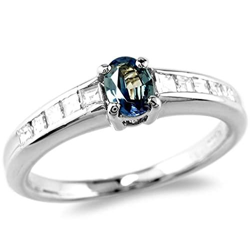 【鑑別付】Pt900 天然 アレキサンドライト 0.23ct ダイヤモンド 0.23ct 6-14号 プラチナ ブラジル産アレキ アレキ カラーチェンジ 宝石 ダイア ダイヤリング リング 指輪 レディース (12号)