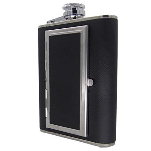 Caja de Cigarrillos Creativa Botella de Licor de Whisky petaca de Acero Inoxidable (Negro 6 onzas)