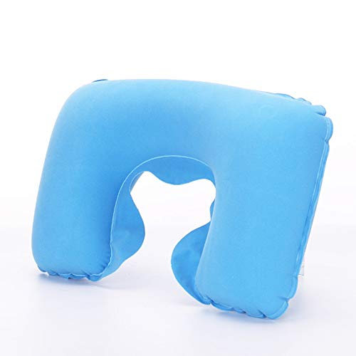 NANSHINE Neck Travel Pillows Compact Portable Inflatable PVC Flocking Pillow Head and Neck Support Pillows in Flight, Small U Shape Headrest Cushion for Best Rest & Sleep While Traveling Sky Blue