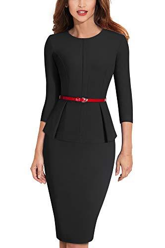 HOMEYEE Negocio Vestido de Mujer Cuello Redondo Peplo Cinturón B473 (EU 44 = Size XXL, Negro)