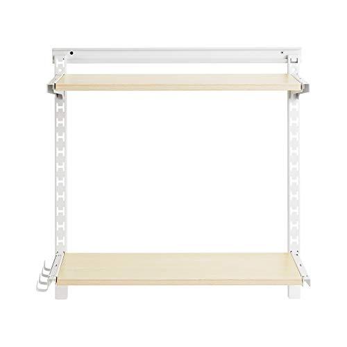 AmazonBasics - Estantería de pared ajustable con riel de malla de hierro y dos baldas