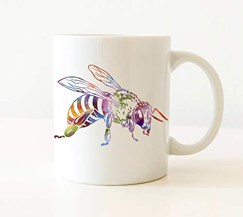 Thomas655 bijenbeker bijengeschenk bijenkado aquarel kunst beker bijen koffiemok unieke honing bieen geschenken