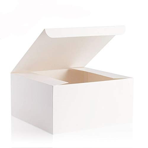 """Niclogi Gift Boxes 12 Pack 8 x 8 x 4"""" Fold Paper Gift Boxes with Lids for Gifts, Bridesmaids Proposal Boxes, Cupcake Boxes, Ornaments Gifts Boxes, Crafting(White)"""