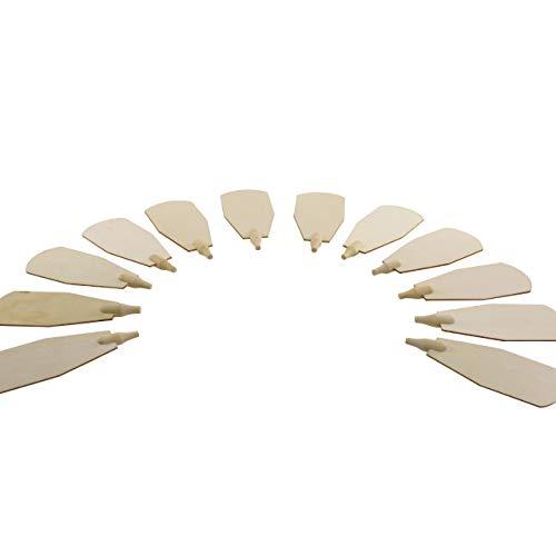 OBC-Kunsthandwerk Weihnachts-Pyramiden-Flügel, H: 88 mm x W: 40 mm, Natur, im Erzgebirgestil, 12 Stück