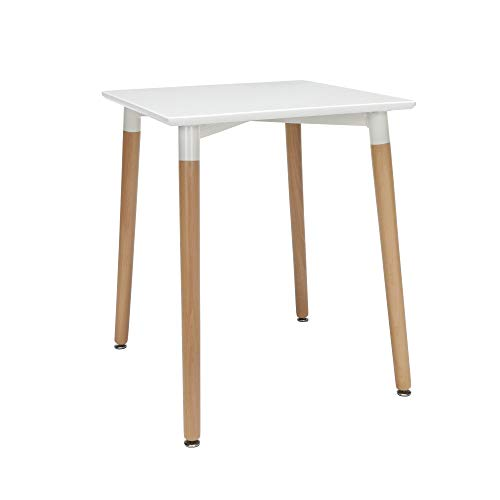 """OFM 161 Collection Mid Century Modern 24"""" Square Dining Table, Solid Wood Legs, in White"""