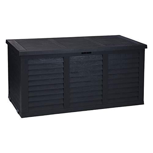 Rollbare Auflagenbox 380L / 116,5x51,5xH57,5cm Kunststoff Gartenbox Gartentruhe Kissenbox für Polsterauflagen Anthrazit