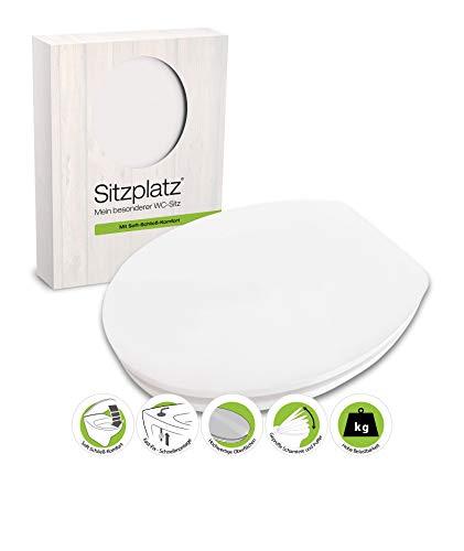 SITZPLATZ® WC-Sitz mit Absenkautomatik, Dekor Real White, High-Gloss Toilettensitz mit Holzkern, Fast-Fix Schnellbefestigung, Standard O Form universal, Toilettendeckel glänzend, 40231 6