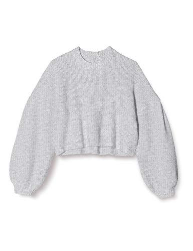 Amazon-Marke: find. T-Shirt Damen großer Rückenausschnitt und Flügelärmel, Grau (Silver Grey), 40, Label: L
