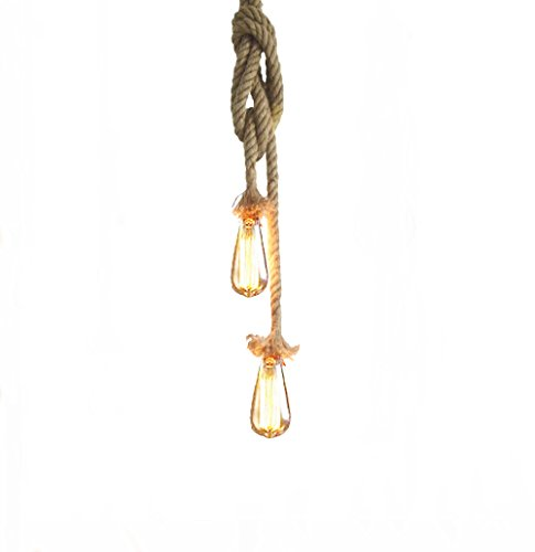 Vintage Hanfseil Hängelampe Pendelleuchte Hängeleuchte Lixada 75cm E27 Fassung (ohne Birne)