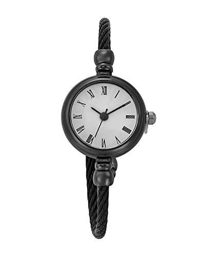 JSDDE Uhren Damen Armbanduhr Chic Manschette Damenuhr Spangenuhr Römische Ziffern Armreifen Quarzuhr Kleideruhr für Frauen Schwarz-Weiß