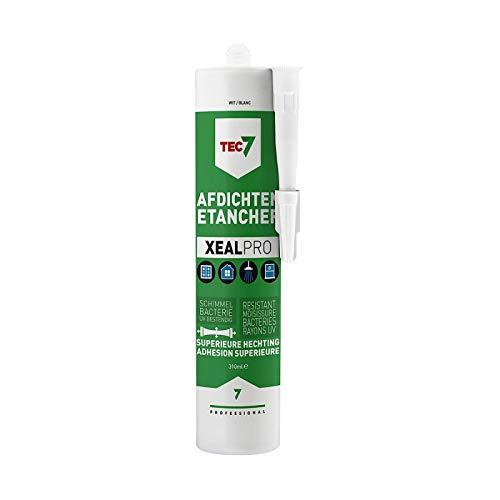 Tec7 XEALPRO/sanitairsiliconen, alles in één afdichtstof, montage afdichtmiddel | beton grijs | 310 ml | lijmen, monteren, afdichten, voor sanitair, bouwmaterialen, beton en natuursteen, UV-bestendig