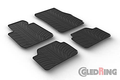 Gledring Set tapis de caoutchouc compatible avec BMW 1-Serie F20/F1 2011-2019 (T profil 4-pièces + clips de montage)