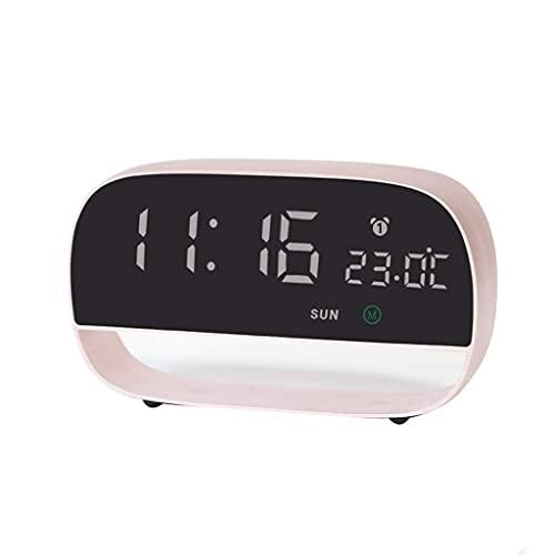 Despertador Reloj despertador eléctrico Reloj despertador con alarma para estudiante Mute Mesilla de noche Luminosa Digital para niños Reloj electrónico inteligente (Color: B)