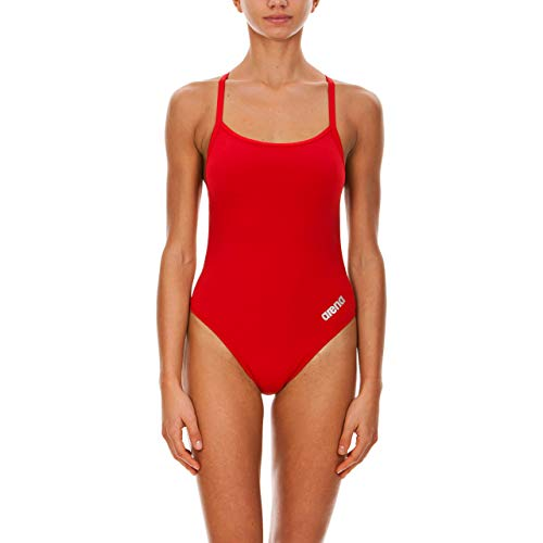 ARENA Damen Mast Light Tech Back MaxLife One Piece Swimsuit Einteiliger Badeanzug, Rot-Metallic Silber, 28
