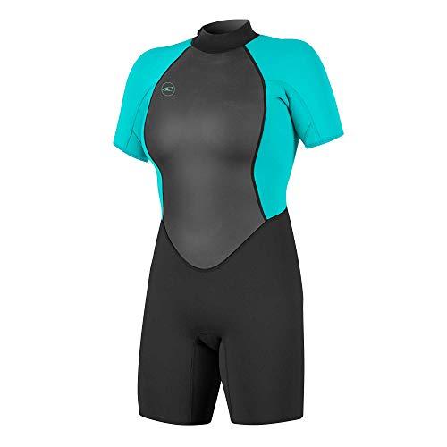 O'Neill Damen Reactor II 2mm Back Zip Spring Wetsuit Neoprenanzug, Black/Light Aqua, 10