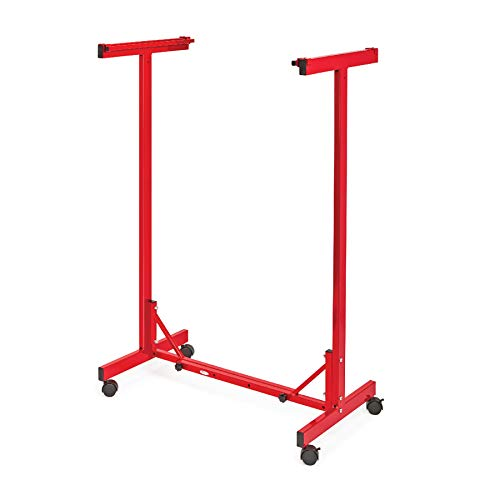Adir Corp. Mobile Blueprint Storage - Horizontally Adjustable Vertical Poster Display Rack/Plans Holder - File Organizer Stand for Home, Office (Red)