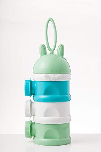 MUUZONING Stapelbare Milchpulver Spender, Tragbar Kinder Milchpulver Portionierer Box Kann 3-Schicht, BPA-freien Luftdichte Lebensmittelvorratsbehälter für Reise im Freien (Grün) #013