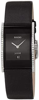 Rado Women's Black Leather Black Dial Watch - R20758155