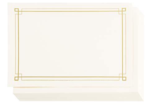 Papel de certificado con borde metálico de lámina dorada, certificados de premio (marfil, 8.5 x 11 pulgadas, 48 unidades)