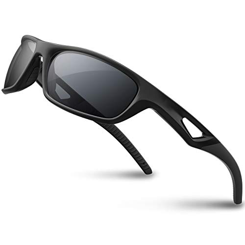 RIVBOS Polarized Sports Sunglasses Driving Glasses shades For Men TR90 Unbreakable Frame For Cycling Baseball RB831 (Full black)