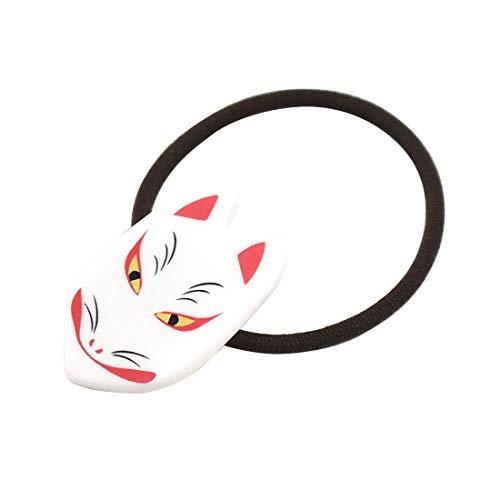 和装 髪飾り [なごみや] ヘアゴム 狐面 全3色 小紋 紬 浴衣用 髪留めゴム 日本製 レディース ホワイト